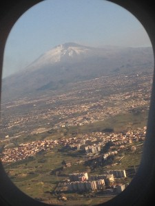 Mt Etna in the distance, and Catania Italy below